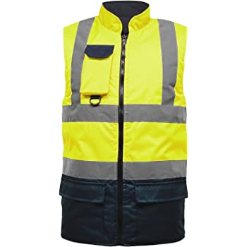 Executive Hi Viz Vis Vest High Visibility Zip Vests 2 Band Reflective Security Work Contractor Safety Mobile Phone Pocket ID Holder Workwear Waistcoat Jacket Top Size S-5XL
