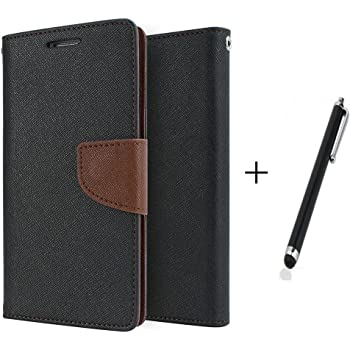 One Plus Two / 1+2 Flip Cover By Online Street (Black Brown + Stylus Touch Stick)