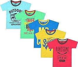 Antshrike Boy's Cotton Printed Round Neck Half Sleeve T-Shirt - Pack of 5