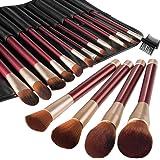 Pinceaux Maquillage Anjou Kit de 16pcs, Doux et Sans Cruaute, Poils Synthetiques, Design Or Rose, Pochette Elegante Cuir PU Incluse