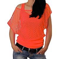 Crazy Age - Top estivo da donna, a rete, colori fluorescenti, alla moda e ideale per feste e celebrazioni