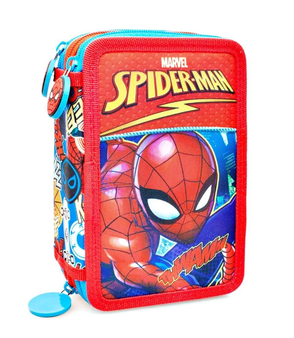 Marvel Spiderman 46124 Estuche 3 bisagras, Plumier Triple, 44 Piezas