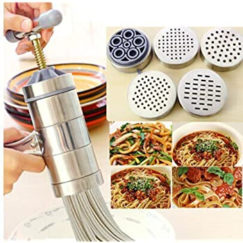 Manual Stainless Steel Pasta Maker Noddles Presser Making Machine with 7 Molds