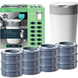 Tommee Tippee Twist and Click Advanced Nappy Bin Starter Set, Eco-Friendlier System with 12x Refill Cassettes with Sustainabl