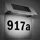 Numéro de maison éclairé en acier inoxydable 4 LED Énergie solaire - Transparent