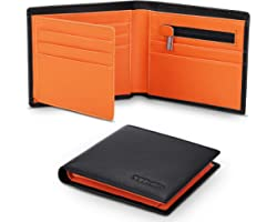 TEEHON® Wallets Mens Slim Genuine Leather RFID Blocking Wallet Mens with 11 Card Holder, 2 banknote compartments, Coin Pocket