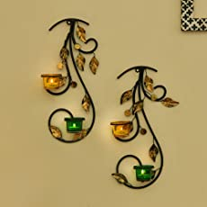 Homesake Wall Hanging Leafy Vine Candle Stand, Wall Scone with Green and Yellow Glass and Candles