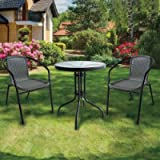 Lewis's Milano Rattan 3 Piece Bistro Garden Furniture Set | Black Or Grey Outdoor Patio Chairs And Steel Table For Al…