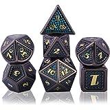 Schleuder Dadi D&D Set Metallo Dice DND, Poliedrici Dadi per Dungeons & Dragons Gioco da Tavolo, Rpg MTG Lega Zinco Dadi da G