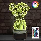 Mädchen-Geschenk, fliegendes Nachtlicht des Ballon-Haus-3D 16 Farben, die Nachtlichter für Kinder mit Fernbedienung ändern, Geburtstagsgeschenke für Mädchen-Alter 2 3 4 5 6+ Jahre alte Kindergeschenke