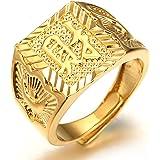 Halukakah ● Oro Tutto Bene ● Uomo Maschile Anello in 18K 18 Carati 18 Carati Oro Autentico Dorato con Diamanti Kanji Ricco +