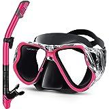 Greatever Snorkel Set, Adult Scuba Diving Mask Anti-Fog Snorkeling Goggles Dry Snorkeling Set Panoramic Wide View Snorkeling