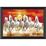 SAF UV Textured 7 Running Horses Vastu Framed Painting (35 cm X 50 cm X 3 cm)(Animals )