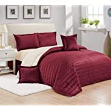Moon Winter fur Comforter Set 4 Pcs, Single Size,Red,SCYM-006