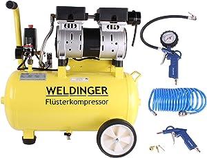Aktionsset WELDINGER Flüsterkompressor FK 95 pro 750 W Luftabgabe 128 l/min ölfrei + Druckluftset 6-teilig