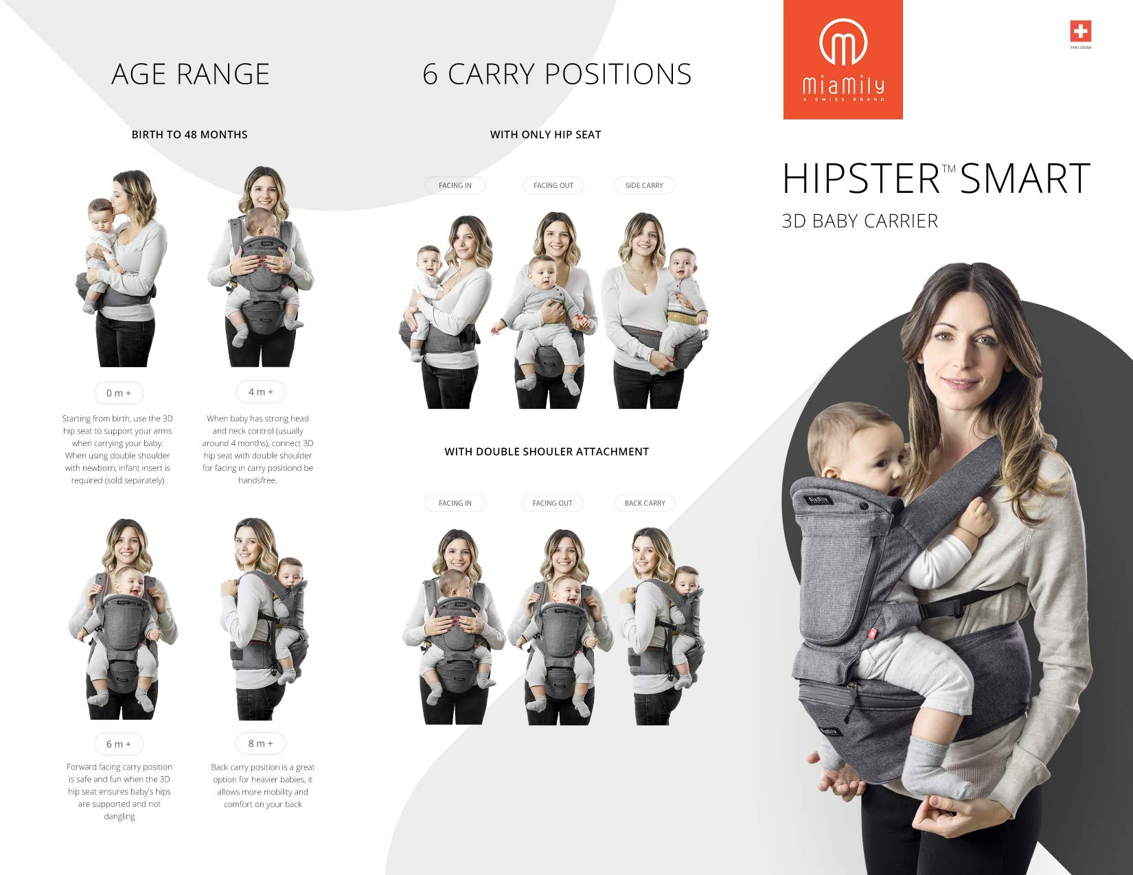 MiaMily HipsterTM Smart - The New Revolutionary 3D Baby Carrier MiaMily HIPSTER™ SMART is a 3D baby carrier. A 3D baby carrier is a carrier that has a built-in 3D hip seat incorporated to the structure and this makes ALL THE DIFFERENCE. Ergonomic for the baby Ergonomic for the parent 5