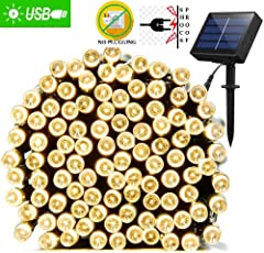 IFITech 72 Feet 200 LED Solar String Light (Yellow)