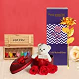 TIED RIBBONS Valentine Day Gift for Girls Boys Girlfriend Boyfriend Husband Wife - Valentines Special Artificial Rose, Teddy