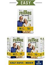 "FRIENDS Easy Unisex Adult Diapers Medium Waist Size (28""- 44"" Inch) 30 Pcs"