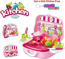 Kids Choice Kitchen Cook Pretend Play Set Toy for Girls with Wheel Carry Case Suitcase