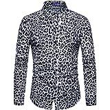 MORCHAN ❤ Hommes Fashion imprimé léopard imprimé Chemisier Casual Manches Longues Slim Chemises Tops