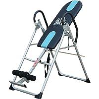 Homcom Table d'inversion de Musculation Pliable Ceinture de sécurité réglable Acier Coloris Argent Noir
