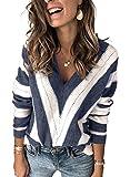 BLENCOT Maglione a Strisce Invernale Cardigan Aperto Maglione Pullover Donna con Scollo a V Maglione a Righe Maniche…