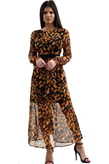 Muslim Dress for Women Embroidered Printed Long Sleeve Round Neck Pleated Hem Flowy Casual Party Islamic Modest Maxi Dresses