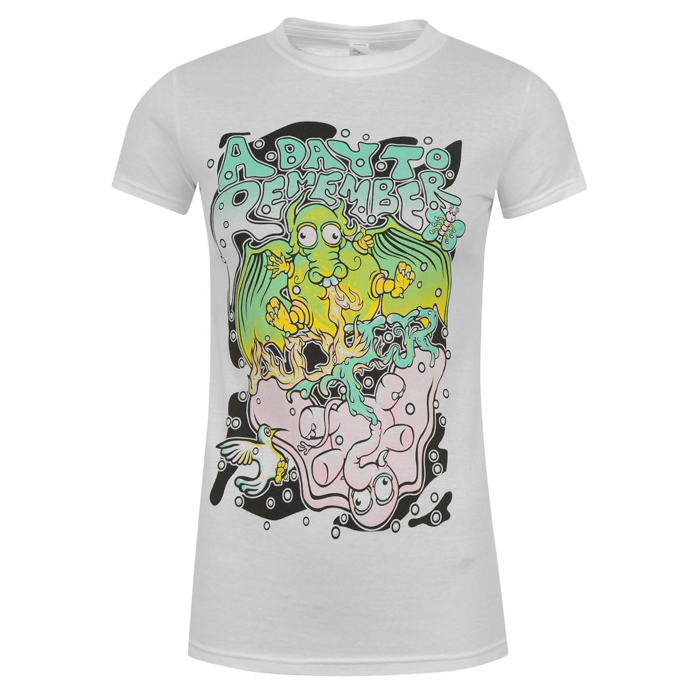 A Day to Remember Dragon & Elephant donna bianco musica t-shirt top maglietta, UK 12 (Medium)