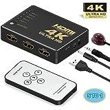 Switch HDMI, GANA HDMI Splitter | Sélecteur HDMI 5 Entrées 1 Sortie 1080P 3D Adaptateur HDMI Commutateur avec Télécommande IR pour PS3 Xbox 360 Lecteur DVD HDTV Projecteur Camcorder HTPC Tablette