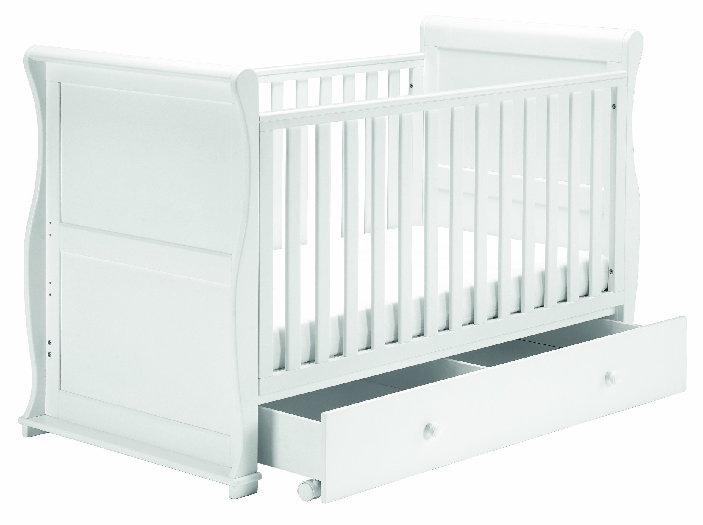 East Coast Nursery Alaska Sleigh Cotbed (White) East Coast Nursery Ltd 3 Base Heights 2 Fixed Sides Converts to day bed and toddler bed 1