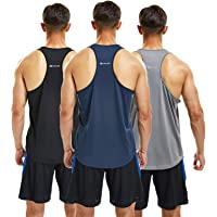 frueo 3 Pack Running Muscle Tank Top for Men DRT-Fit Gym Vest Workout Sleeveless Tops Breathable Y-Back Shirts Training…