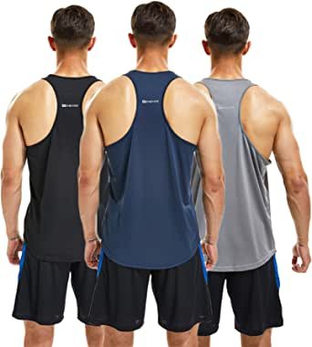 frueo 3 Pack Running Muscle Tank Top for Men DRT-Fit Gym Vest Workout Sleeveless Tops Breathable Y-Back Shirts Training Bodybuilding Vests