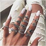 Yean Boho Strass Ring-Sets Vintage Silber Blume Gelenke Knöchel Ringe Stapelringe für Frauen und Mädchen (14 Stück)