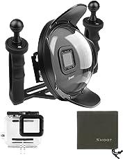 SHOOT Upgraded 5.0 Version Stabilisator Tray Dome Port für GoPro Hero 7 Black/Hero(2018)/HERO6/HERO5 Schwarz Kamera 6 Zoll Tauchen Handheld Gegenlichtblende Dome Objektiv Unterwasser Fotografie