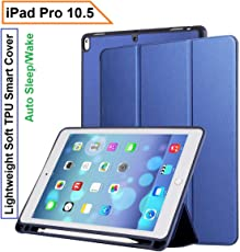 Oaky Newest iPad 10.5 Inch 2017 case with Pencil Holder Shockproof Lightweight Soft TPU Folio Smart Back Cover and Trifold Stand with Auto Sleep/Wake, Protective, Magnet protective Function Perfect Match for Apple iPad 10.5 2017 with Built-in Apple Pencil Holder (A1701/A1709) – Blue