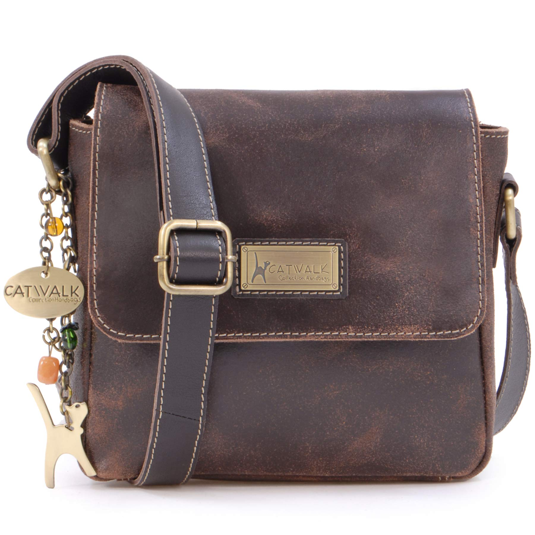 573344dd74f2 Catwalk Collection Handbags - Ladies Small Distressed Leather Cross ...
