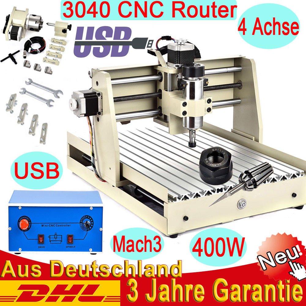 4 Achse CNC Router Graviermaschine 3040T 3D Fräsmaschine Gravurmaschine 400W DE