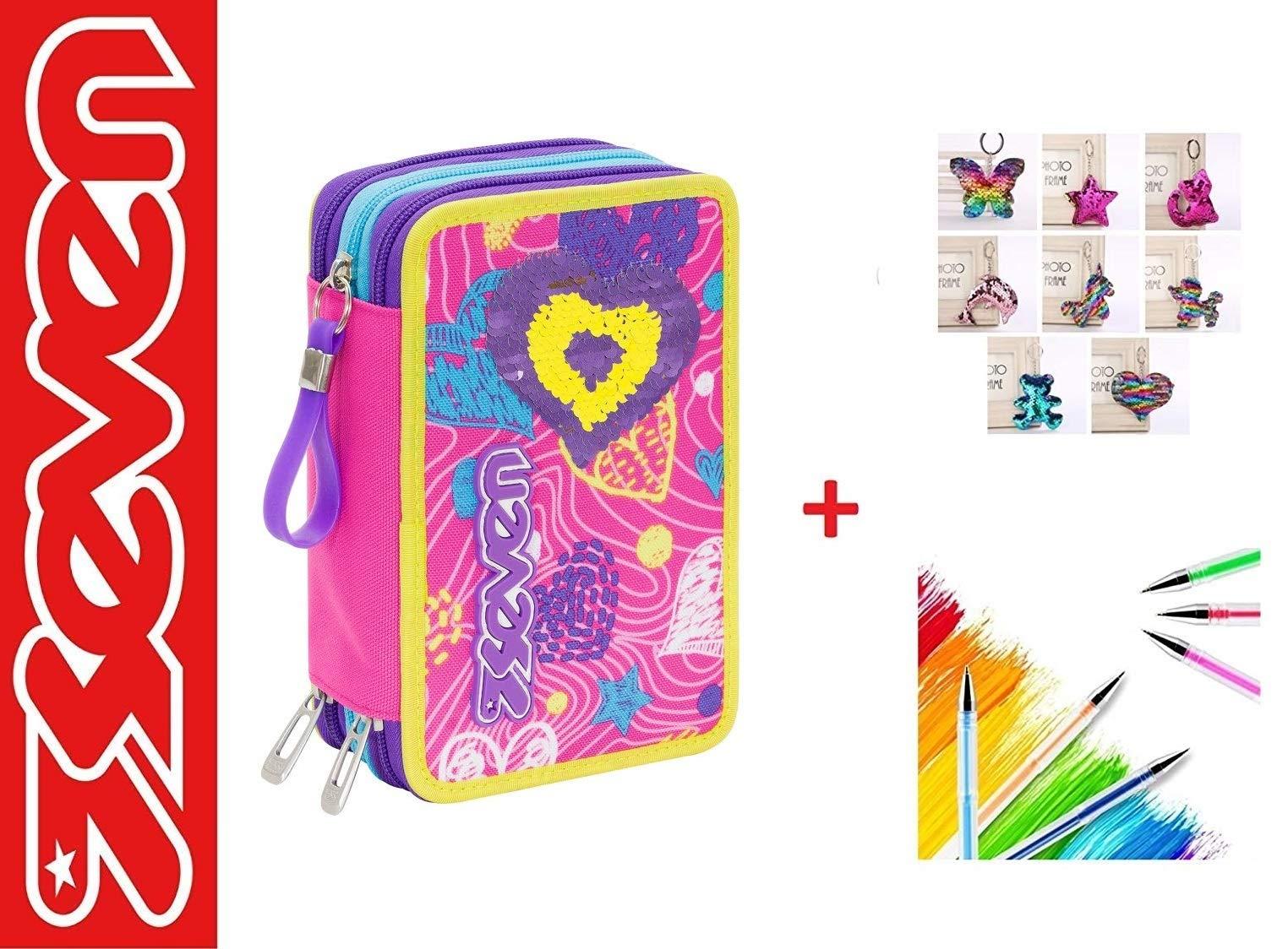 Estuche Seven Shineheart fucsia escolar de 3 pisos completo + llavero con brillos + bolígrafo de colores y marcapáginas