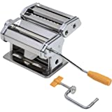 axentia Verchroomde pastamachine voor lasagneplaten, spaghetti of bandnoedels, handmatige pastamamachine met zwengelaandrijvi