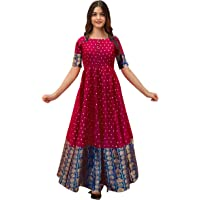 Mohtarma Women's Full Stitched Banarasi Silk With Georgette Long Gown