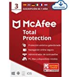 McAfee Total Protection 2021, 1 Año, Seguridad de Internet, Manager de Contraseñas, Seguridad Móvil, Descargable | 3 Disposit