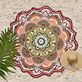 Telo rotondo con motivo di mandala, con nappe, color turchese, utilizzabile per la spiaggia, per lo yoga e come tovaglia