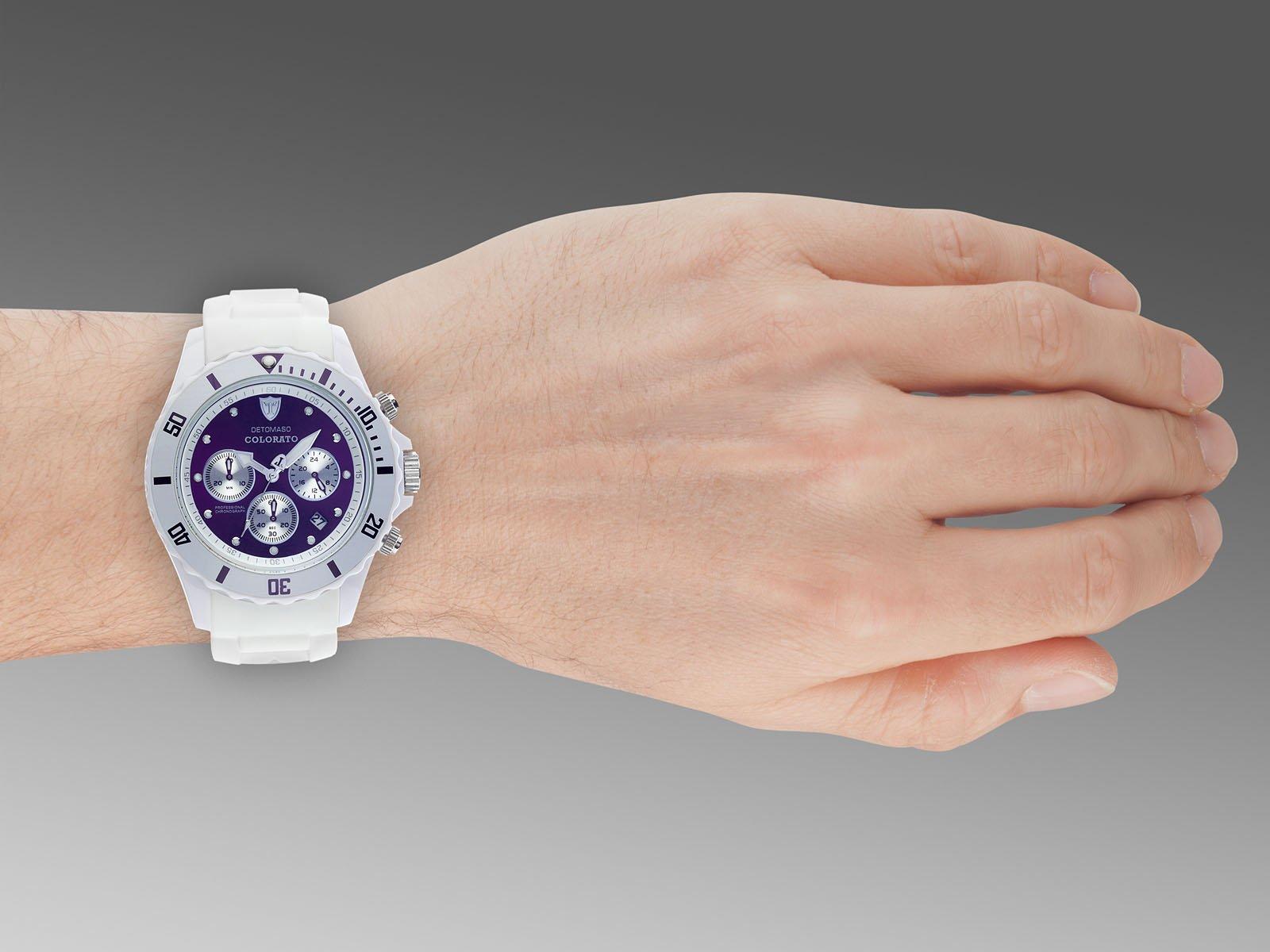 Detomaso DT2019-F – Reloj Unisex de Silicona Resistente al Agua Violeta