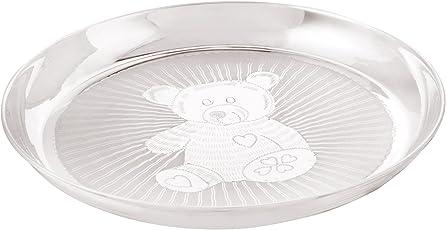 Osasbazaar Sterling Silver Baby Plate - Teddy Bear Design - 90%-92.5% Pure BIS Hallmarked