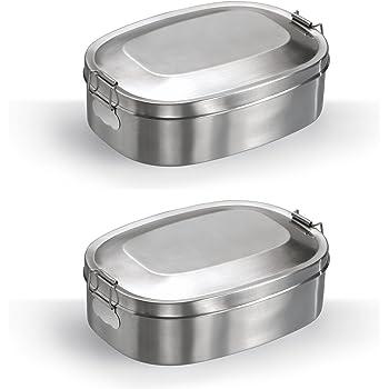 Vesperbox Klappbox Edelstahl Vesperdose Frühstücksbox Brotdose klein (2er Set)