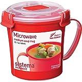 Sistema Microwave soepbeker, 656 ml, rood/transparant
