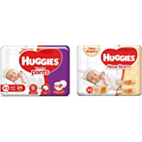 Huggies Wonder Pants, Extra Small (XS) Diapers, 24 Count & New Born Taped Diapers (22 Counts)