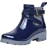 ukStore Bottes de Pluie Bottines Cheville Rainboots Bottine de Chelsea Bloc Boots Imperméables Chaussures pour Femme