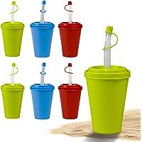 Set de gobelet avec paille et couvercle Hausfelder – gobelet plastique réutilisable avec paille de 400 ml pour enfants…